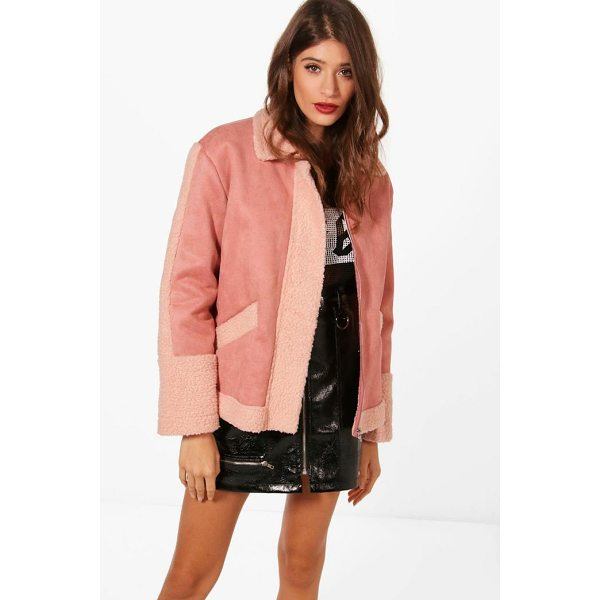 BOOHOO Tanya Teddy Faux Fur Trim Biker - Wrap up in the latest coats and jackets and get out-there...