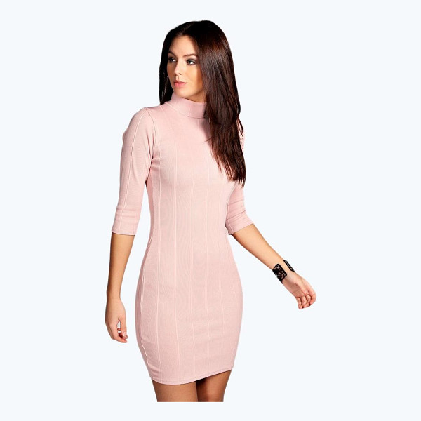 BOOHOO Tara Turtle Neck Rib Bodycon Dress - Dresses are the most-wanted wardrobe item for day-to-night...