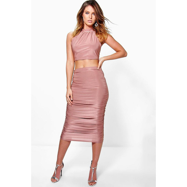 BOOHOO Tia Slinky Halterneck Crop And Midi Skirt Co-Ord - Co-ordinates are the quick way to quirky this seasonMake...