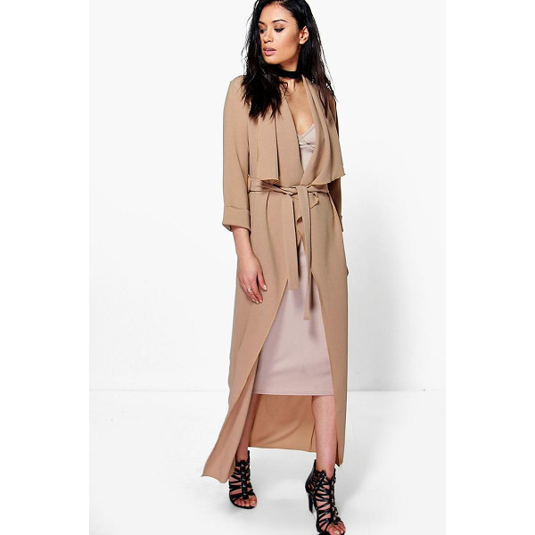 BOOHOO Tia Waterfall Woven Belted Duster - Wrap up in the latest coats and jackets and get out-there...