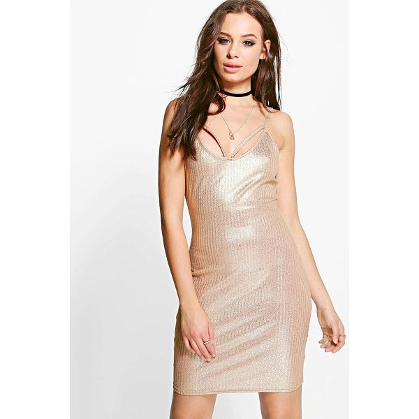 BOOHOO Tiara Metallic Rib Strappy Bodycon Dress - Dresses are the most-wanted wardrobe item for day-to-night...
