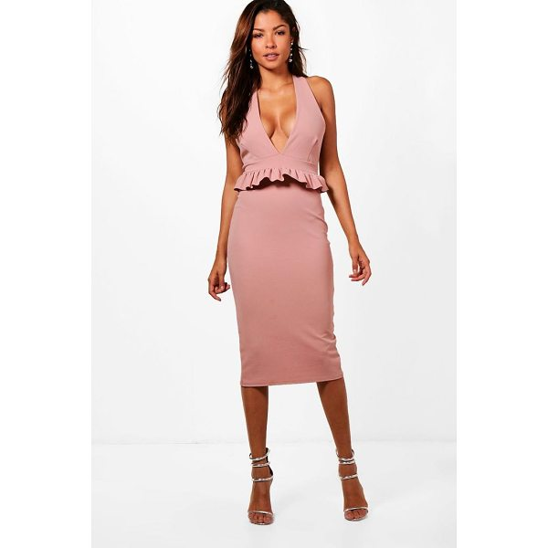 BOOHOO Tiffanie Halter Frill Waist Detail Midi Dress - Dresses are the most-wanted wardrobe item for day-to-night...