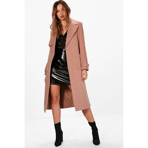 BOOHOO Tina Double Breasted Wool Look Coat - Wrap up in the latest coats and jackets and get out-there...