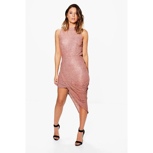 BOOHOO Tina Metallic Asymetric Bodycon Dress - Dresses are the most-wanted wardrobe item for day-to-night...