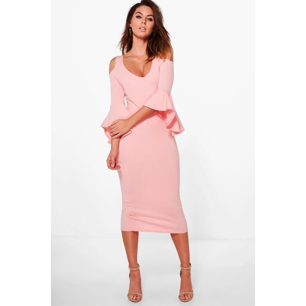 BOOHOO Tyra Open Shoulder Frill Midi Dress - Dresses are the most-wanted wardrobe item for day-to-night...