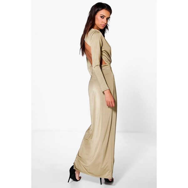 BOOHOO Uhura Slinky Wrap Open Back Maxi Dress - Dresses are the most-wanted wardrobe item for day-to-night...