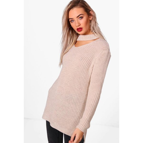 BOOHOO Una Pearl Embellished Choker Jumper - Nail new season knitwear in the jumpers and cardigans that...