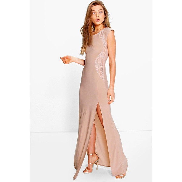 BOOHOO Veronica Lace Insert Maxi Dress - Get dance floor-ready in an entrance-making evening...
