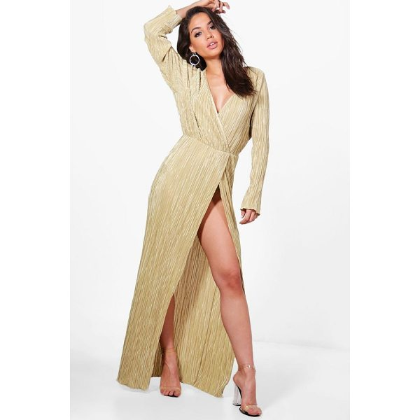 BOOHOO Vicky Pleated Long Sleeve Wrap Maxi Dress - Dresses are the most-wanted wardrobe item for day-to-night...