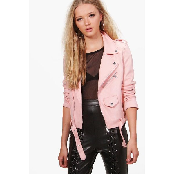 BOOHOO Victoria Boutique Suedette Biker Jacket - Wrap up in the latest coats and jackets and get out-there...