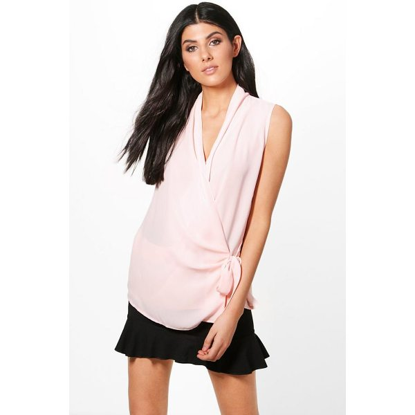 BOOHOO Willow Wrap Tie Blouse - Steal the style top spot in a statement separate from the...