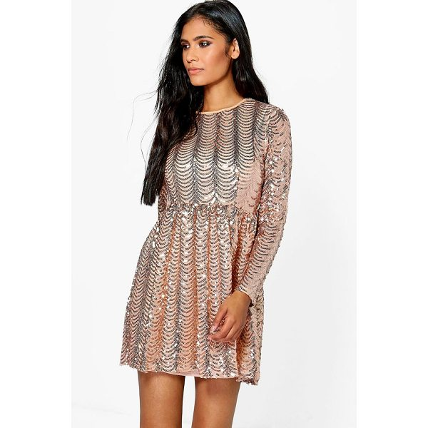 BOOHOO Xena Printed Sequin Long Skater Dress - Dresses are the most-wanted wardrobe item for day-to-night...
