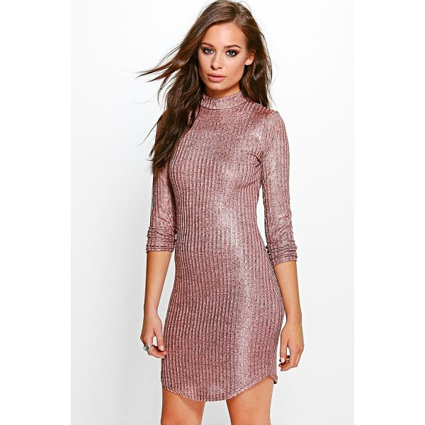 BOOHOO Xenia Metallic Rib Roll Neck Bodycon Dress - Dresses are the most-wanted wardrobe item for day-to-night...