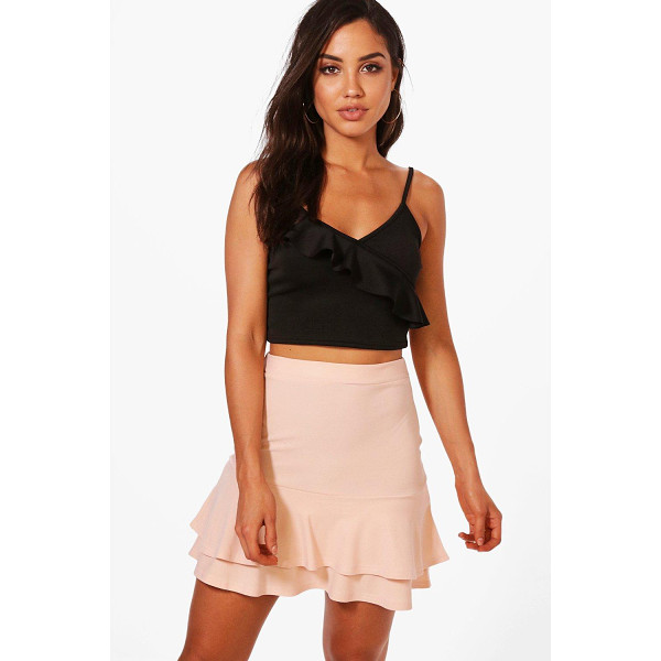 BOOHOO Zaina Double Ruffle Hem Mini Skirt - We're all about bringing you fun and flattering shapes to...