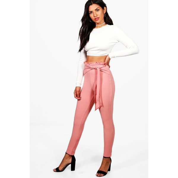 BOOHOO Zarina Ruffle Waist Skinny Crepe Trousers - Trousers are a more sophisticated alternative to...