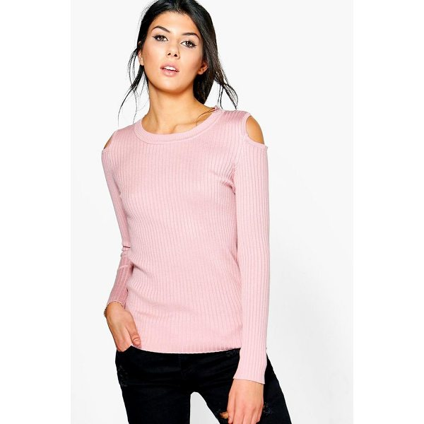 BOOHOO Zoe Cold Shoulder Rib Knit Jumper - Nail new season knitwear in the jumpers and cardigans that...