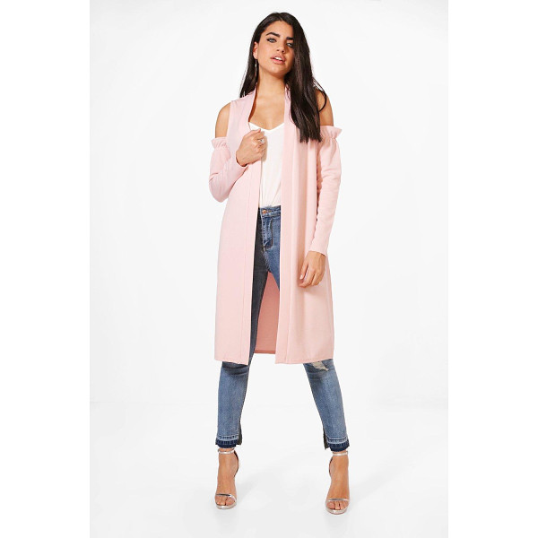 BOOHOO Zoe Cold Shoulder Ruffle Duster - Wrap up in the latest coats and jackets and get out-there...