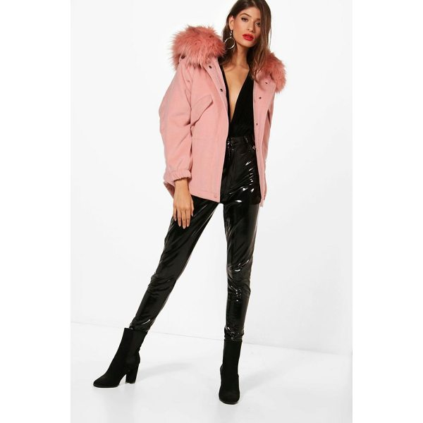 BOOHOO Zoe Faux Fur Trim Wool Look Parka - Wrap up in the latest coats and jackets and get out-there...
