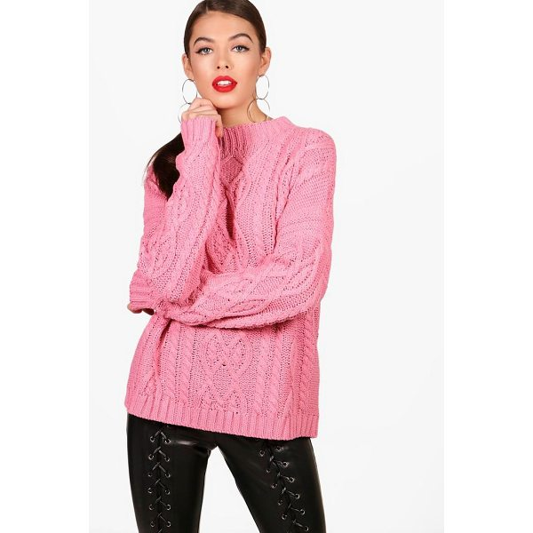BOOHOO Zoe Oversized Funnel Neck Crop Cable Jumper - Nail new season knitwear in the jumpers and cardigans that...