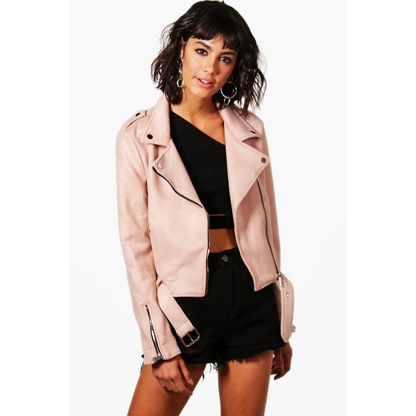 BOOHOO Zoe Premium Vegan Suede Biker Jacket - Wrap up in the latest coats and jackets and get out-there...