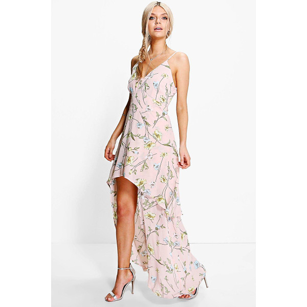 BOOHOO Zoey Floral Dip Hem Skater Dress - Dresses are the most-wanted wardrobe item for day-to-night...