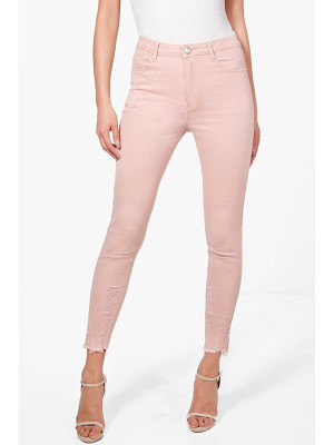 Boohoo Abby High Waist Destroyed Hem Skinny Jeans