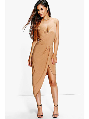 Boohoo Abi Slinky Cowl Wrap Detail Midi Dress
