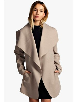 Boohoo Abigail Belted Waterfall Coat