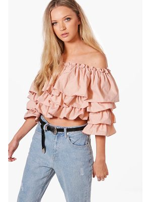 BOOHOO Abigail Off The Shoulder Ruffle Top