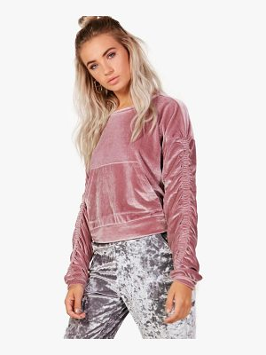 BOOHOO Abigail Velvet Ruched Sleeve Crop Sweat