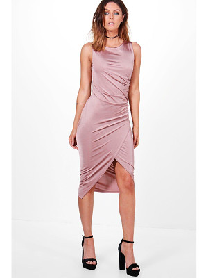 BOOHOO Addie Slinky Ruched Detail Midi Dress
