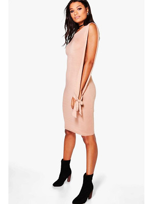 Boohoo Addison Split Sleeved Tie Detail Midi Dress