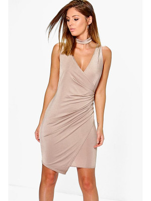 Boohoo Adria Drape Slinky Tie Neck Detail Bodycon Dress