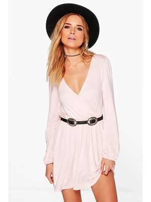 BOOHOO Adriana Jersey Long Sleeve Wrap Dress
