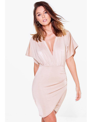 BOOHOO Afia Slinky Plunge Wrap Bodycon Dress