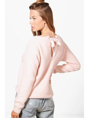 BOOHOO Aimee Ribbon Lace Up Back Soft Knit Jumper