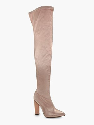 BOOHOO Aimee Satin Thigh High Boots
