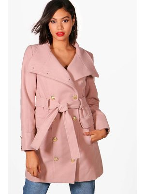 BOOHOO Alana Double Breasted Military Belted Coat