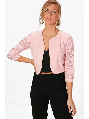 BOOHOO Alana Lace Sleeve Edge To Edge Jacket