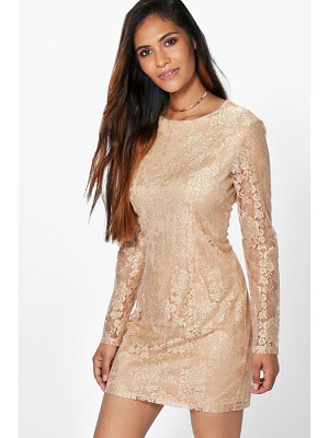 BOOHOO Aleesha Metallic Lace Bodycon Dress