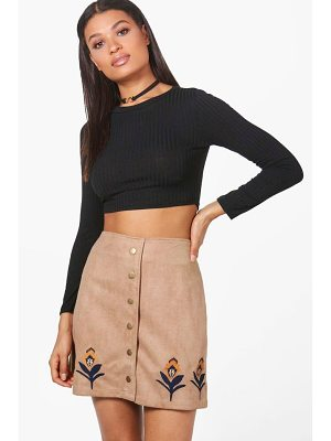 BOOHOO Alexi Embroidered Hem Button Front Suede Skirt