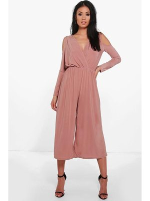 Boohoo Alice Cold Shoulder Skinny Culotte Jumpsuit