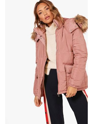 BOOHOO Alice Hooded Padded Coat With Faux Fur Trim