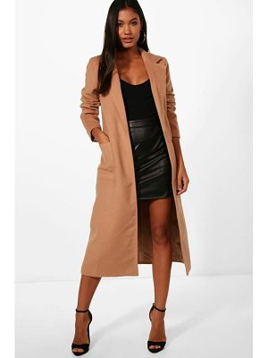 BOOHOO Alice Longline Button Wool Look Coat