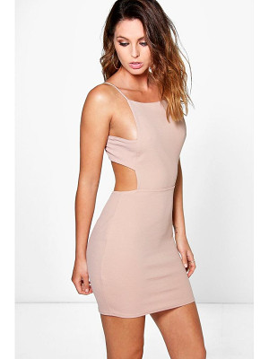 Boohoo Alina Square Neck Midi Strap Bodycon Dress