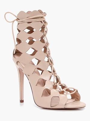 BOOHOO Alisha Cage Ghillie Lace Up Heels