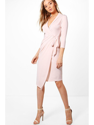 BOOHOO Alison Wrap Front 3/4 Sleeve Midi Dress