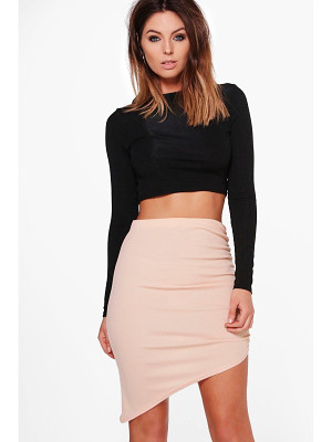 Boohoo Alyssa Ribbed Asymetric Midi Skirt