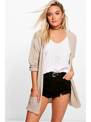 BOOHOO Amber Loose Knit Slouchy Pocket Cardigan