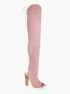 BOOHOO Amelia Peeptoe Thigh High Boot